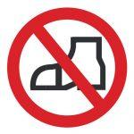 Забраняващ знак, Знак забранено влизането с външни обувки, Забранено преминаването с външни обувки