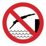 Забраняващ знак, Знак забранено скачането във водата