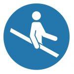 Задължаващ знак, Задължително се придържай, когато ползваш стълбите