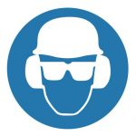 Задължаващ знак, Задължително използване на каска, защитни очила и антифони