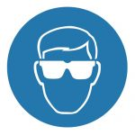 Задължаващ знак, Задължително защитни очила при работа