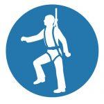 Задължаващ знак, Задължително обезопасяване, Задължително защитни въжета за обезопасяване